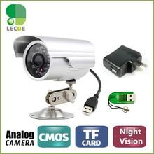 DVR USB de La Cámara 600TVL CCTV Bala Impermeable Al Aire Libre IR NightVision Seguridad Micro SD/TF Tarjeta Grabadora de Cámara + Cámara soporte