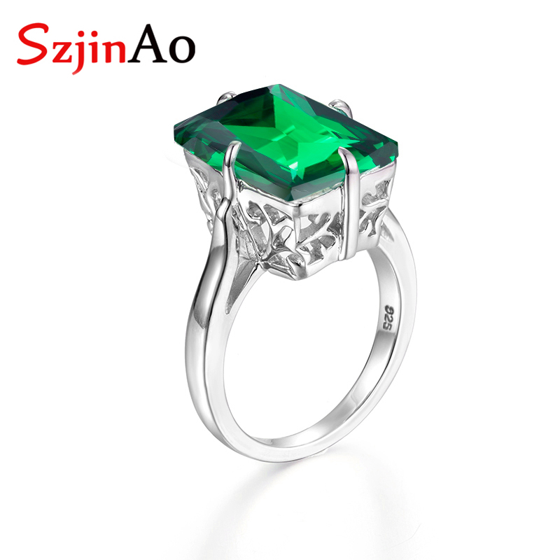 SQUARE EMERALD MAY BIRTHSTONE RING  Genuine Sterling Silver.925 Size 5