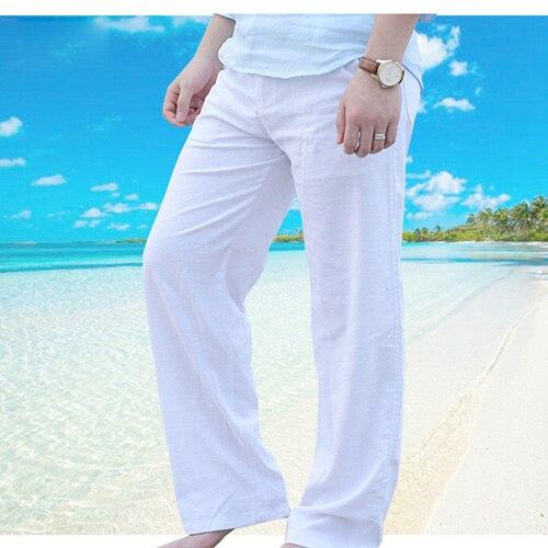 New-Top-quality-Men-s-Summer-Casual-Pants-Natural-Cotton-Linen-Trousers-White-Linen-Elastic-Waist.jpg_640x640 (1)