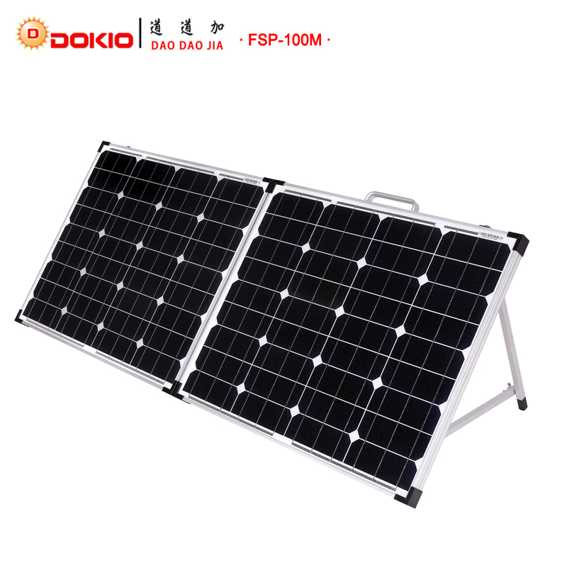 Dokio Brand Fold able 18V Solar Panel China 100W(2Pcs x 50W) +10A 12V/24V Controller Easy to Carry Cell/System Charger Panels