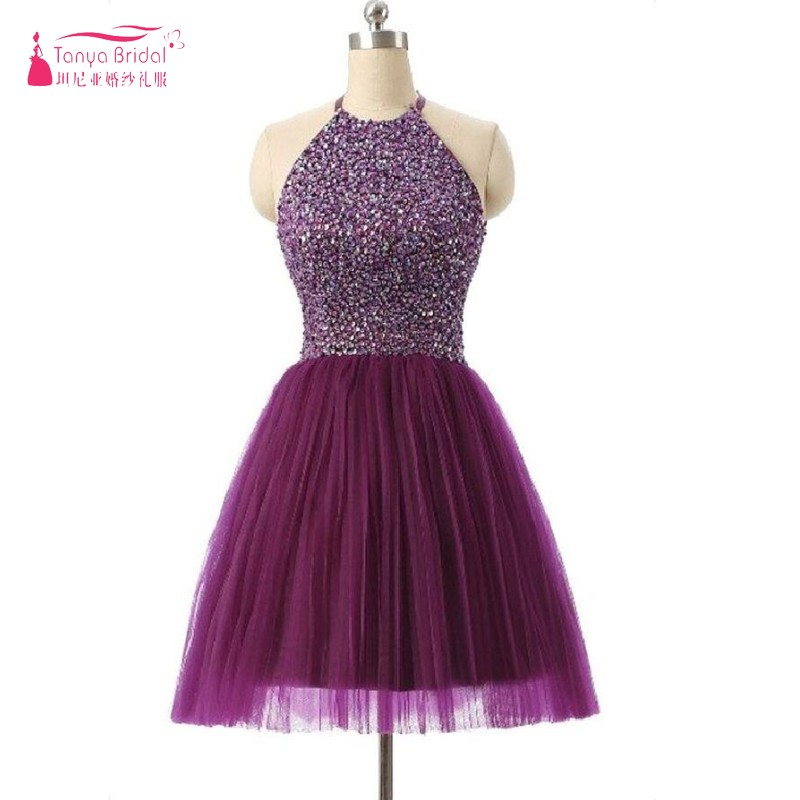 Elegant Red Cocktail Dresses New Years Eve Dress Short Crystal Dress Sexy Open Back High Collar Women Party Dress Gown Grape Hot