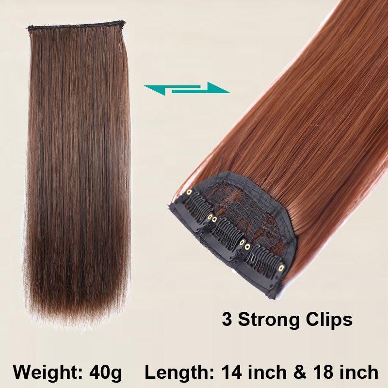 SHANGKE 3 Klipp i hårförlängningar Medium Rakiga Hårstycken - Syntetiskt hår - Foto 6