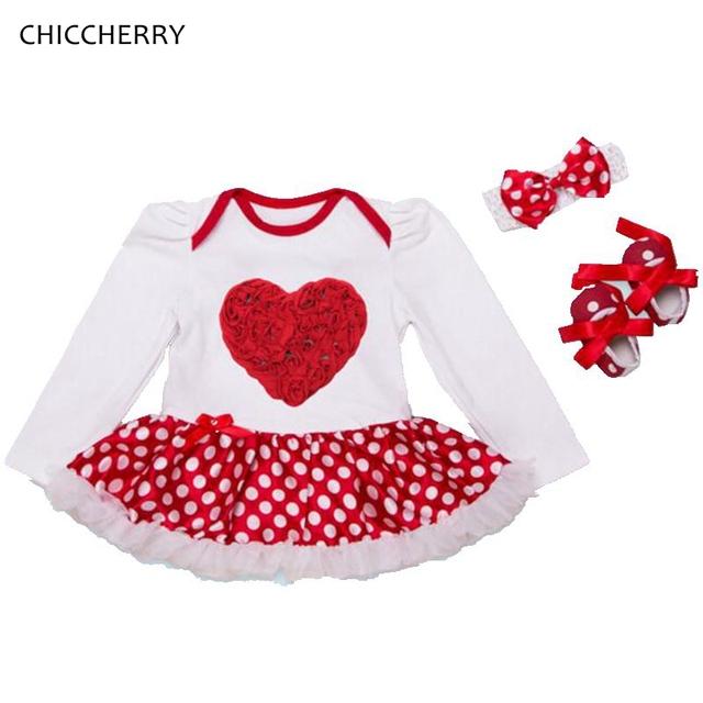 Rose Baby Girl Outfit Polka Dots Vestido de Bebé Del Corazón de San Valentín Conjunto Diadema y Zapatos infantiles Del Tutú Del Cordón Vestido Bebe Recién Nacido ropa