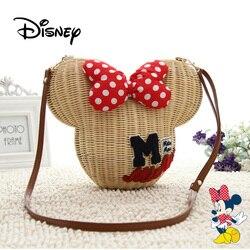 Disney Mickey Maus Frauen Hand-woven Rattan Tasche Stroh Schulter Handtaschen Cartoon Minnie Ohren Mädchen Hohl Handmade Messenger Taschen