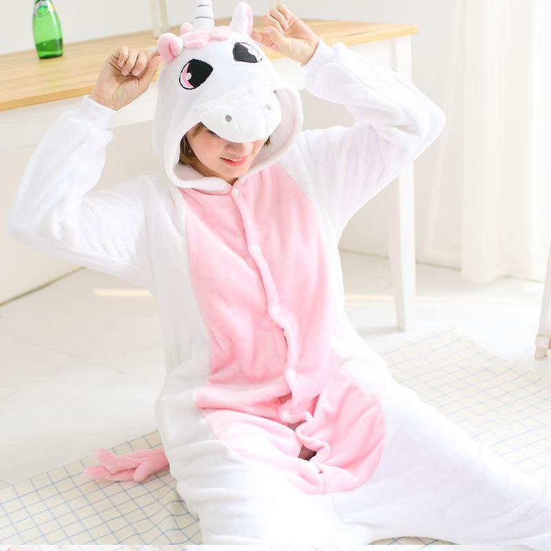 6 Colors Unicorn Animal Pajamas Unisex Adult Pajamas Flannel Pajamas Winter Garment Cute Cartoon Animal Onesies Pyjamas Jumpsuit