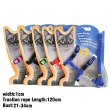 Filhote de cachorro gatinho arnês e trela para animais de estimação ajustável tração arnês cinto gato gatinho halter colar sem papelão