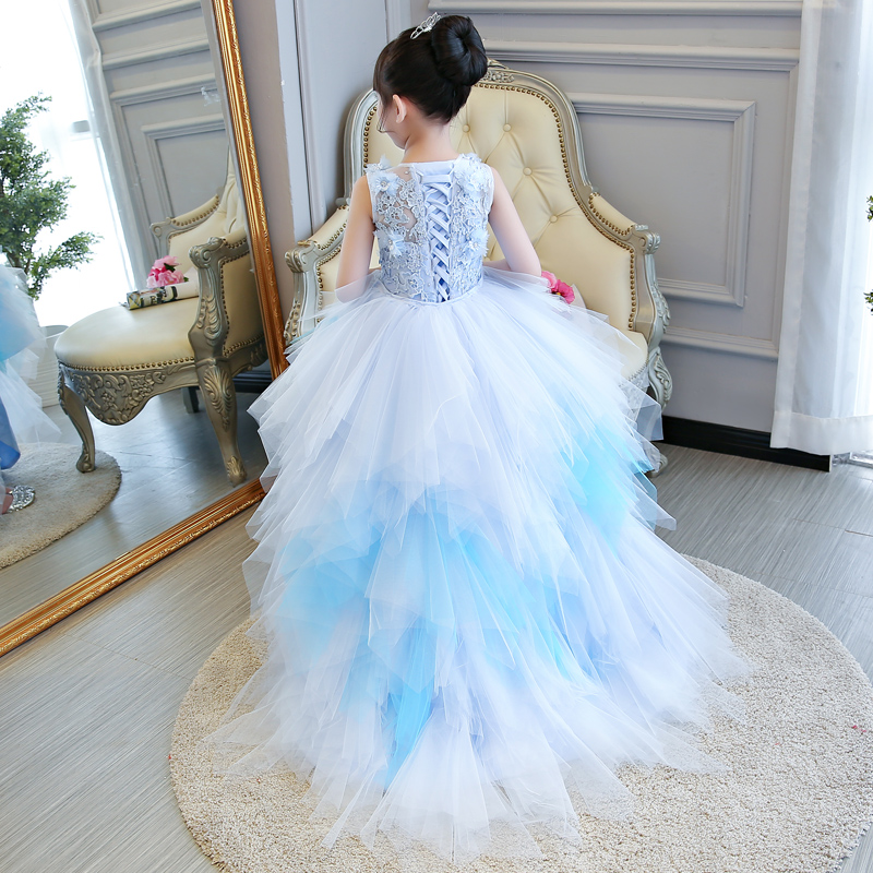 Flower Girl Dresses for Wedding Long Trailing Lace Up Princess Dress for Birthday Party Ball Gown Crystal Floral Kids Gowns B109