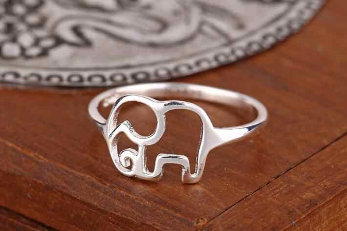 Shuangshuo New Fashion Silver Couple Jewelry Vintage Animal Rings for Women Cute Elephant Rings for Lovers Wedding Gift Size 7