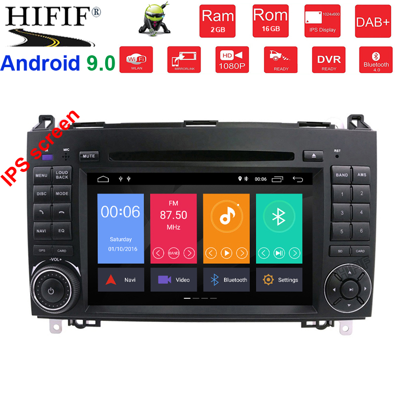 IPS 2G RAM Quad Core 1024*600 2 din voiture DVD Android 9.0 pour Mercedes/benz B200 A160 Viano Vito GPS NAVI RADIO BT intégré wifi