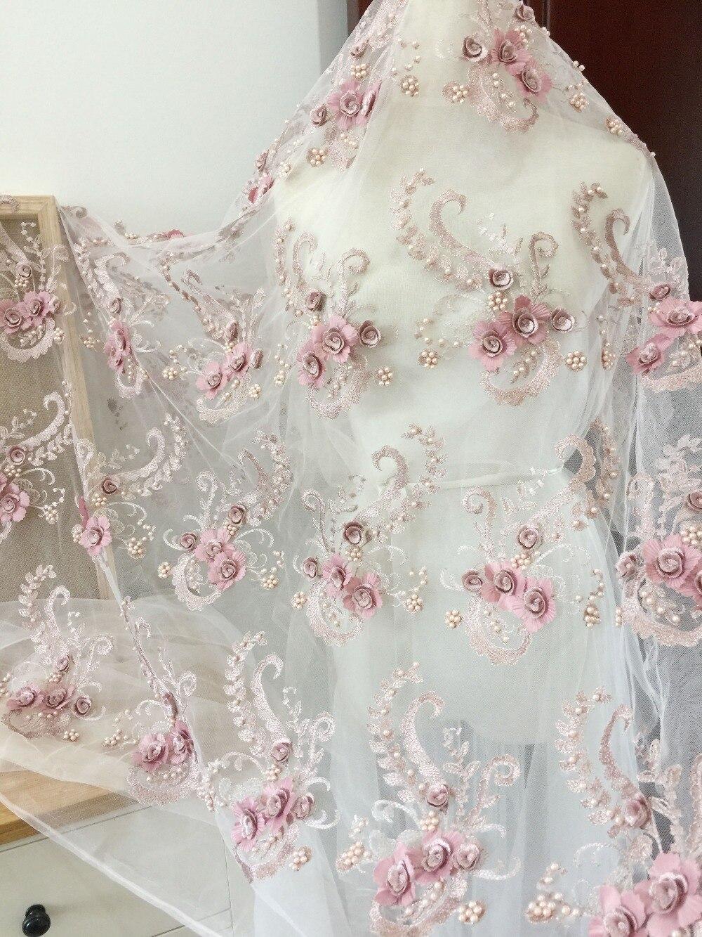 한 야드 절묘한 3d 무겁게 진주 페르시 꽃 레이스 패브릭 먼지 핑크, 꽃 꽃 레이스 패브릭 드레스 오트 couture-에서직물부터 홈 & 가든 의  그룹 1