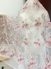 one yard Exquisite 3D heavily pearl beaded floral lace fabric in dust pink , Blossom Flower Lace Fabric dress  haute couture