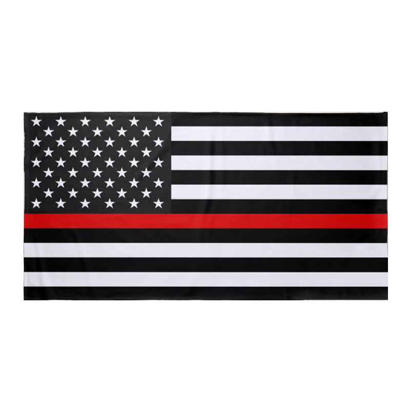 Cool Black Red Line American Flag Beach Towel Novelty Red Line US Flag Bath Towels for Adult USA Firefighters Birthday Gifts 140