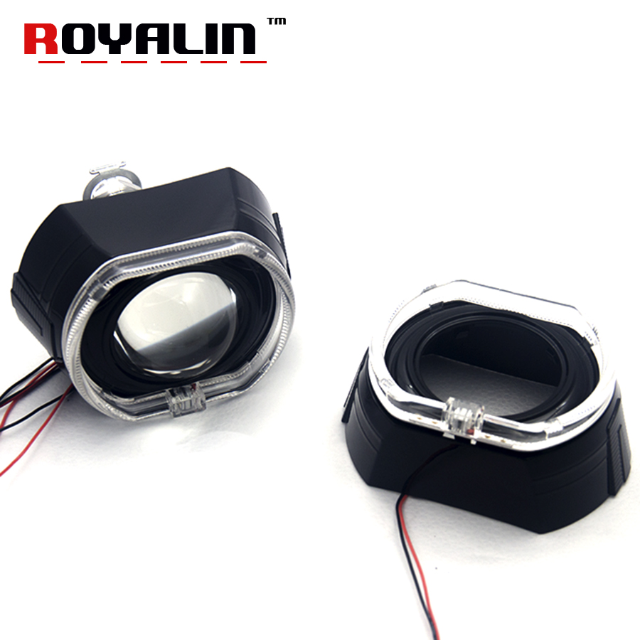 ROYLIN LED Daytime Running Light Square Angel Eyes with H1 Bixenon Projector Lens for BMW 316i 328i 335i 320 328 Car HeadLights sinolyn 3 0 super hid bixenon lenses headlight car projector lens square u led angel eyes halo daytime running lights headlamp