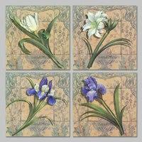 רטרו 4 יח'\סט פרחים סגולים לבנים תליית אמנות קיר בד ציור קישוט הסלון ילדים עיצוב מודפס לא ממוסגר