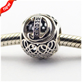 Fits for Pandora Bracelets Alphabet D Charms with Clear Cubic Zirconia 100% 925 Sterling Silver Beads Free Shipping