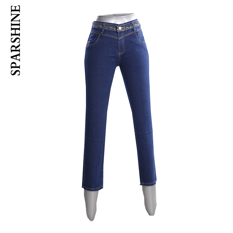Women Solid Color Full Length Jeans Female Mid Waist Embroidery Regulary Straight Jeans Ladies Slim Trousers