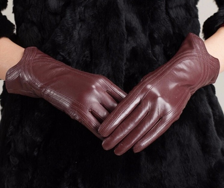 High Quality Women Genuine Sheepskin Winter Women Leather Gloves Lady knitting lined Warm Winter Mittens women gloves 14