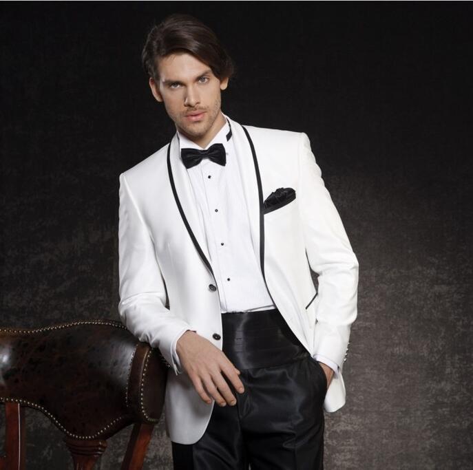 New Arrivals White Black Men Suits Slim Fit Formal Jacket Man Tailor Made Groom Prom Dress Blaze 2 Piece Costume Homme Masculino