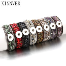 22CM Snap Bracelet Real Natural Stone Leather Bracelet Fit 18mm Snap Button Bracelet Bohemia Style For Women Jewelry