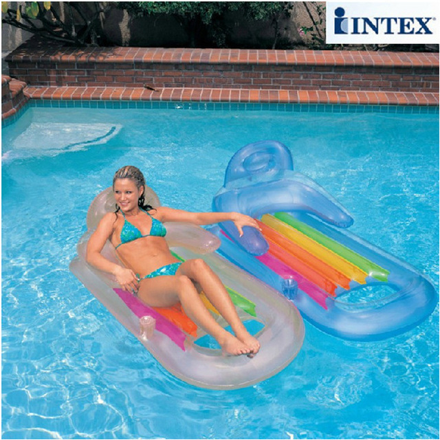 INTEX 160*85cm water air mat mattress adult summer swimming pool toy lounge with backrest with cup holder 2 color B39009