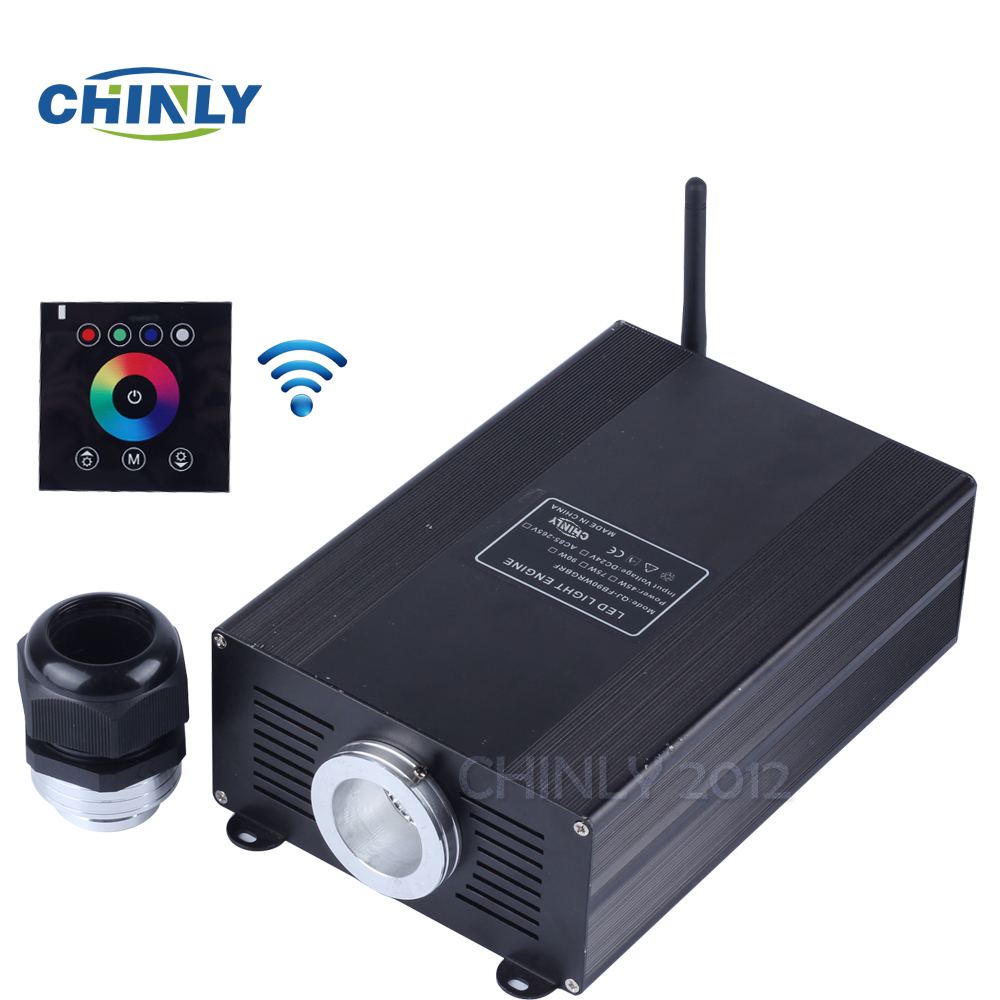Optic Fiber LED Light Engine 45W RGBW with Power Plug and Wireless Wall Touch Controller 2.4G for Home Decoration Night Lights