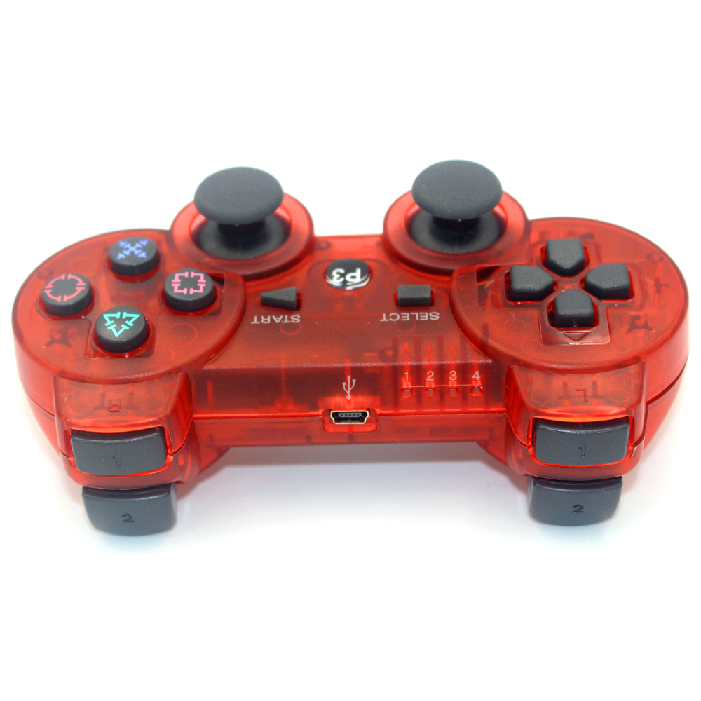 JIELI Bluetooth inalámbrico Color transparente para Sony PlayStation Dualshock 3 PS3 controlador Gamepad vibración
