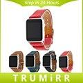 Натуральная Кожа Ремешок Для Часов Один Тур + Адаптеры для iWatch Apple часы 38 мм 42 мм Ремешок на Запястье Браслет Черный Синий Коричневый красный