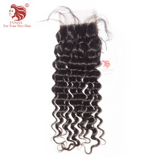 "[FYNHA] Peruvian Lace Closure Deep Wave Virgin Hair Free Part 4""x 4"" 100% Human Hair Free Shipping"
