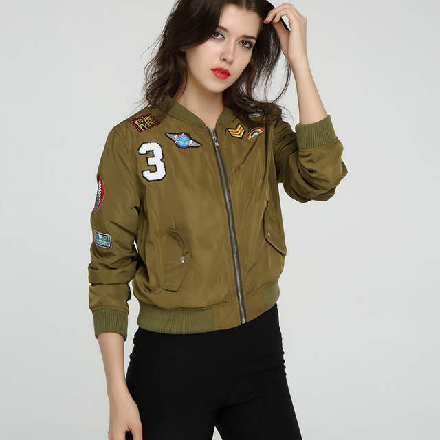 5e0fadfae New Women Coats Bomber Jackets Female Flight Suit Casual Jacket Embroidered  Patch Shiny Satin Short Coat Lady DWE16