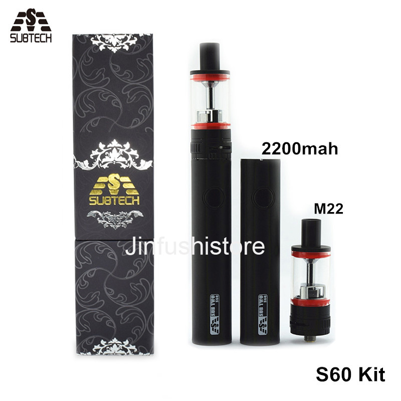 Newest Sub two S60 kit E Cigarette 60W 2200mAh Battery 2.5ML M22 Atomizer Vape Pen SUBTECH S60 Cigarette electronic Kit