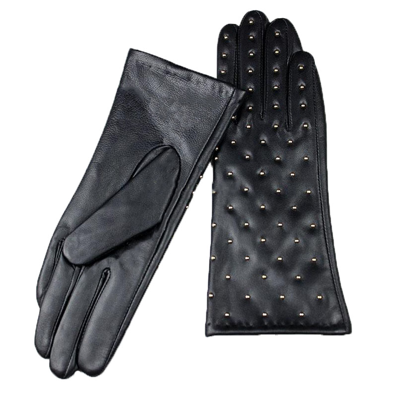2018 new women's sheepskin leather gloves set drill style sling velvet lining autumn and winter warm female finger gloves