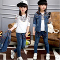 Kids boys and girls children's clothes suit 2016 Spring and Autumn denim casual three-piece big virgin denim jacket + pants 2-12
