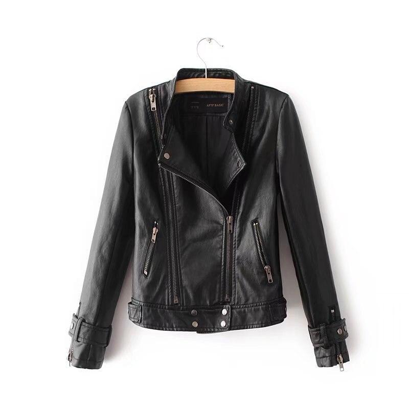 U-SWEAR 2018 Autumn PU Leather Jacket Women Casual Faux Short Coat Fashion Mosaic Plus Size Bomber Leather Jacket Femininas