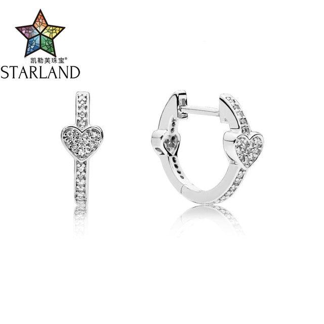 Starland 100% 925 Sterling Silver Bạc Quyến Rũ Trái Tim Hoop CZ Bông Tai Phù Hợp Với người phụ nữ Món Quà