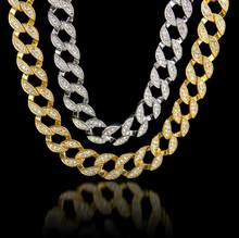 2017 hip hop bling 76cm*1.5cm pave bling crystal leaf nickle free Fashion Gfit Boys Mens Chain Gold Filled Jewelry(China)