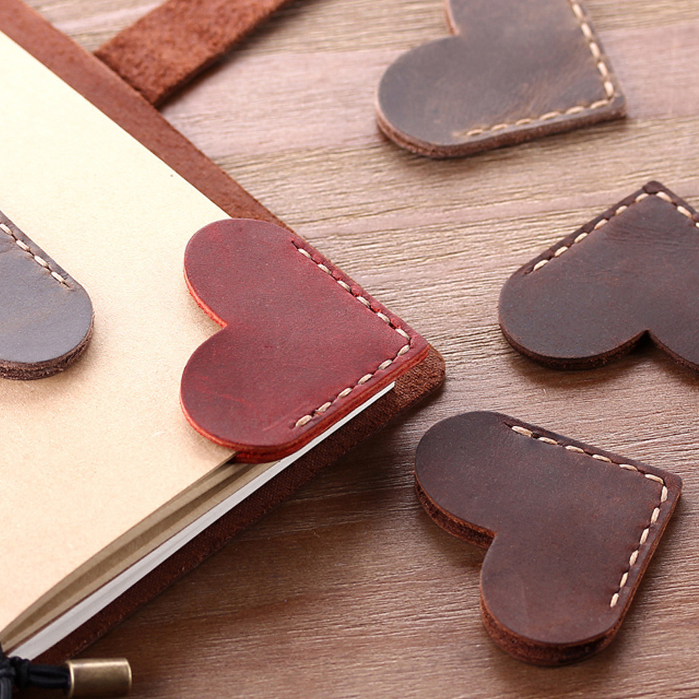 Handmade Vintage Genuine Leather Bookmark For Notebook Diary Journal Planner Index Mini Corner Page Marker Bookmark Reader Gift
