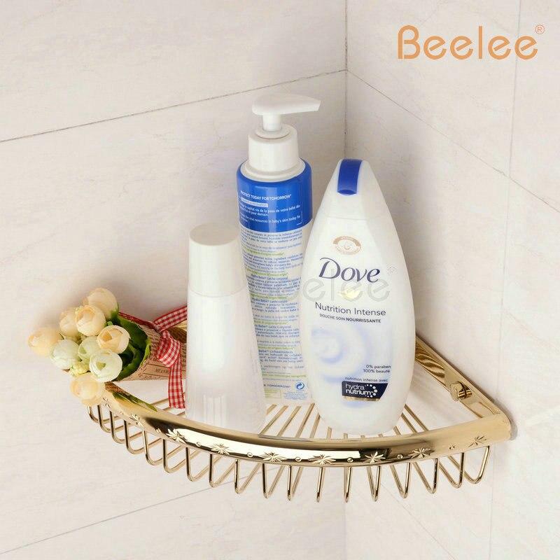 Free Shipping Bathroom Corner Shelf Wall Mount Rose Golden Single Tier Cosmetic Rack