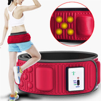 Electric Abdominal Tummy Slimming Massage Belly Belt Fat Burner Lose Weight Fitness Waistband Muscle Stimulator Red