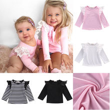 2016 Fashion Ins Baby Girls Lace Long-sleeved O-neck Cotton Top T-shirt Clothing Infant Bebe Top Outfit Tees 0-2years