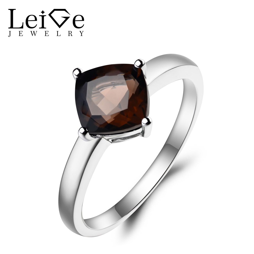 Leige Jewelry Natural Smoky Quartz Ring Cocktail Party Ring Cushion Cut Brown Gemstone Solid 925 Sterling Silver Solitaire Ring цена