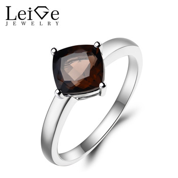 Leige Jewelry Natural Smoky Quartz Ring Cocktail Party Ring Cushion Cut Brown Gemstone Solid 925 Sterling Silver Solitaire Ring