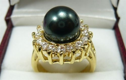 Green South Sea Shell Pearl 18KWGP Crystal Ring size 6.7.8.9
