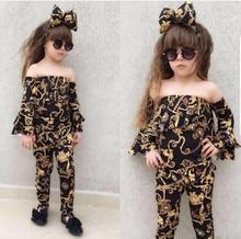 2019 New Toddler Girl Clothes Set Kid Baby Off-shoulder Tops+Loose Pants Leggings+Headband Summer Children Casual