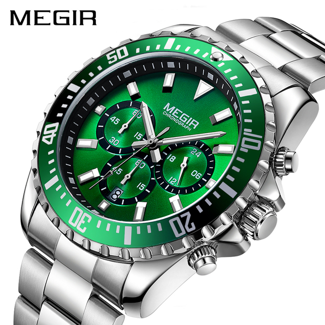 ساعة رجالي من MEGIR ساعة يد فاخرة من ماركة كرونوغراف كوارتز ساعات معصم للأعمال من الفولاذ المقاوم للصدأ ساعة رجالية