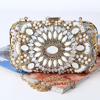 Handbags High Grade Vintage Clutch Bags Handmade Beading Evening Clutch Bag Women Wedding Purse Bags Chains