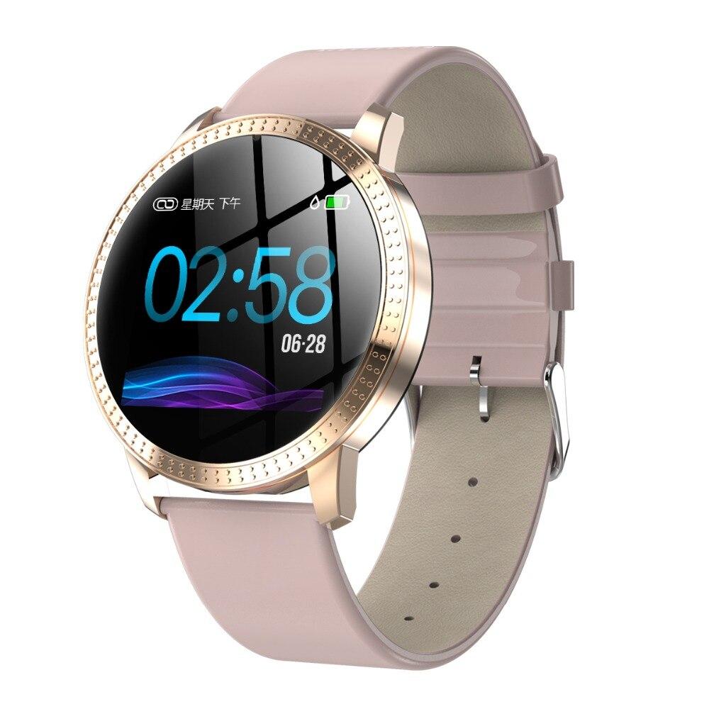 696 Smart Watch CF18 Waterproof IP67 1.22 Inch Blood Pressure Monitoring Metal Starp Multi Sport Modes SmartWatch Women Band