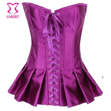 Gothic Purple Satin Front Lace Up Overbust Sexy Corset Dress Gothique Pleated Mini Skirt Corselet Korsett For Women Bustier Top
