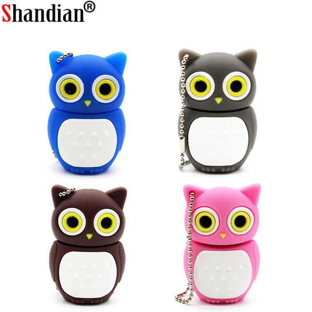 SHANDIAN Bonito coruja usb pen drive flash drive gb 8 4 gb 16 gb pendrive memory stick usb 2.0 U disco do usb creativo 4 cores