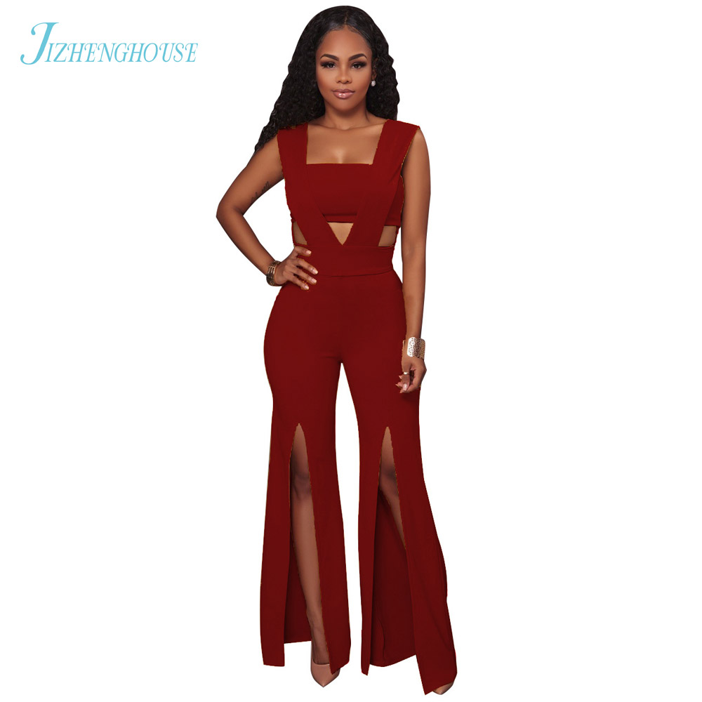 JIZHENGHOUSE Fashion Sexy Boot Cut Leg Women Rompers Elegant Sleeveless Party Formal Jumpsuit