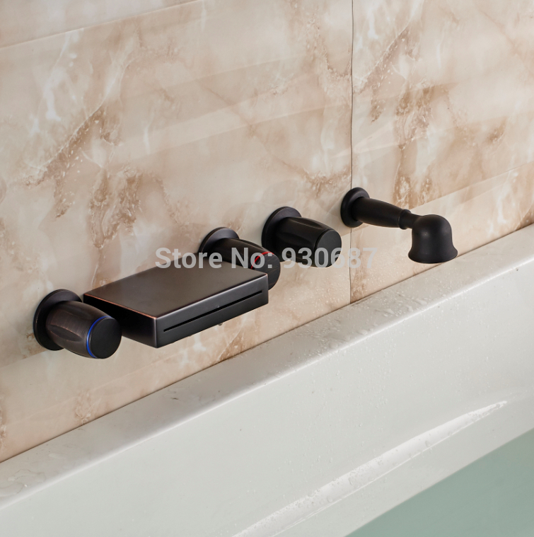 Retro Oil Rubbed Bronze Wall Mounted Waterfall Bathtub Faucet With Hand Shower